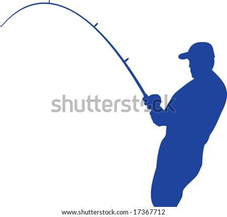 Vector Outline of a fisherman with bent rod