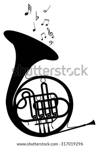 Vector outline of a trumpet. EPS-10 - stock vector