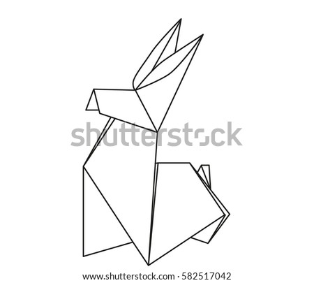 Vector Outline Origami Rabbit Isolated Stock Vector 582517042