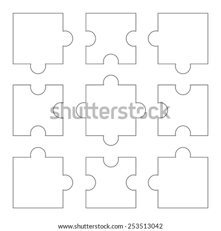 Vector outline parts of puzzle - stock vector