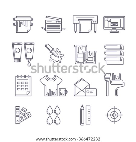 Vector outline printing icons set. Printer, plotter, paints and paper, stationery and corporate identity line illustration. Concept for copy center, printing service, publishing design. - stock vector