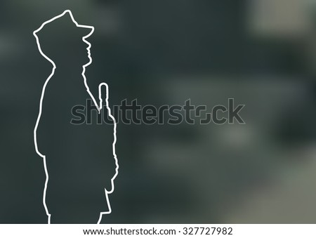Vector outline silhouette of US marine - stock vector