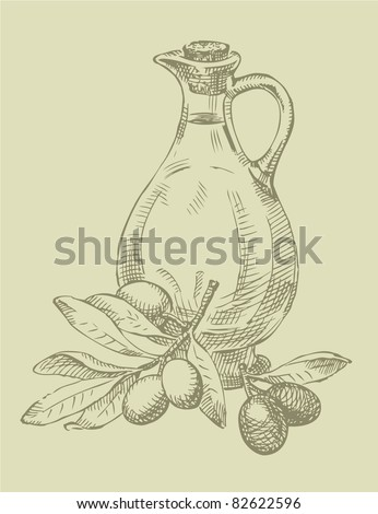 Vector outline. Still life of olive oil in a glass jar and sprigs of fresh olives - stock vector