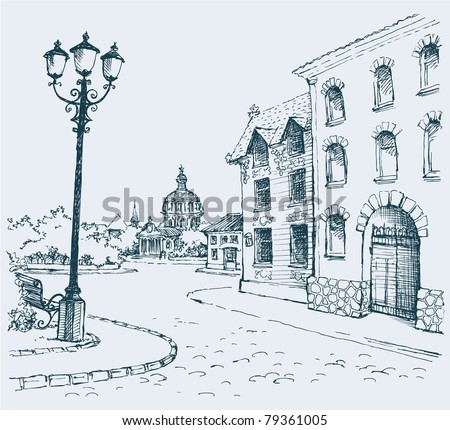 Vector outline. The architectural landscape of the old streets of the city - stock vector
