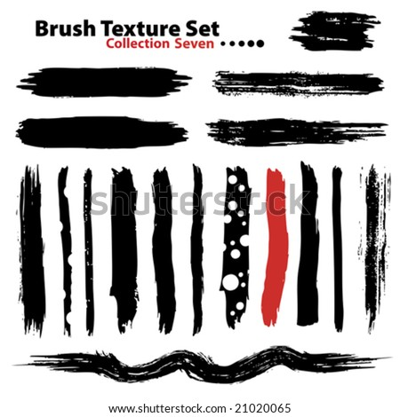 Vector outline traces of customizable organic paint brushes (strokes) in different shapes and styles, highly detailed. Grouped individually, easily editable. Collection set number 7. - stock vector