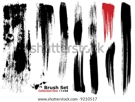 Vector outline traces of customizable organic paint brushes (strokes) in different shapes and styles, highly detailed. Grouped individually, easily editable. Collection set number 1. - stock vector