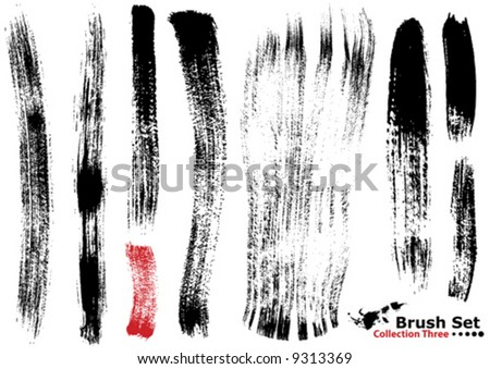 Vector outline traces of customizable organic paint brushes (strokes) in different shapes and styles, highly detailed. Grouped individually, easily editable. Collection set number 3. - stock vector