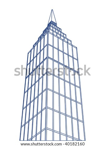 vector outlined skyscraper - stock vector