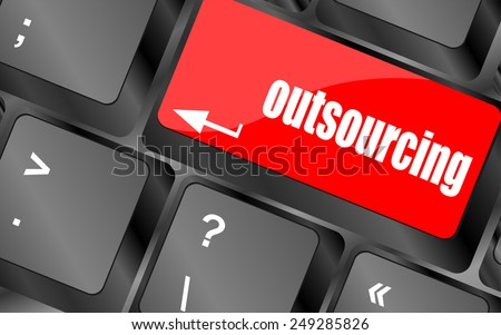 vector outsourcing button on computer keyboard key - stock vector