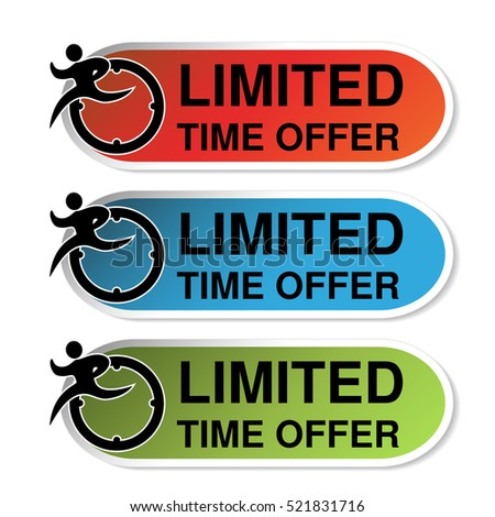 Vector oval labels of Limited Time Offer with runner man, red, blue and green sticker.