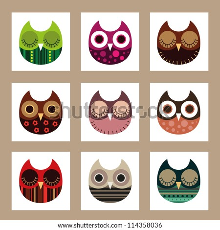 Vector owl set, cute owls, bird - stock vector