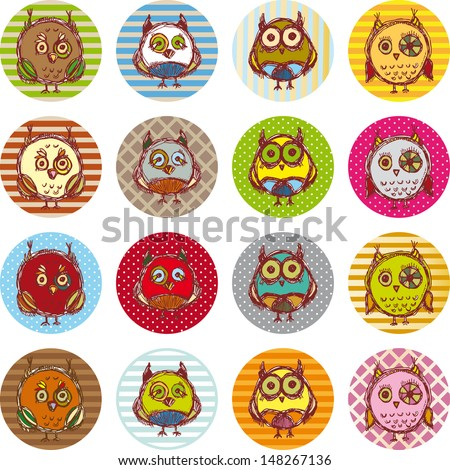 Vector owl set, cute owls, bird