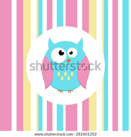 Vector owl, striped background. Animal decorated in pastel shades. Emotion - madness - stock vector