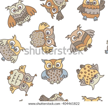 Vector owls cartoons seamless pattern isolated. - stock vector