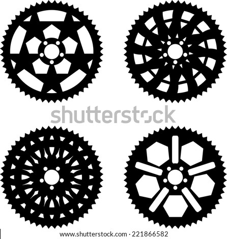 Vector pack of bike chainrings and rear sprocket  - stock vector