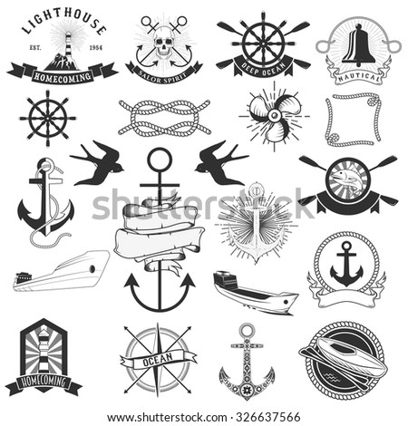 Vector pack of nautical elements. Rope swirls, logos and badges
