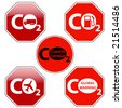 vector pack of stop signs isolated on pure white (new glossy vs old one color) - STOP CLIMATE CHANGE - stock photo