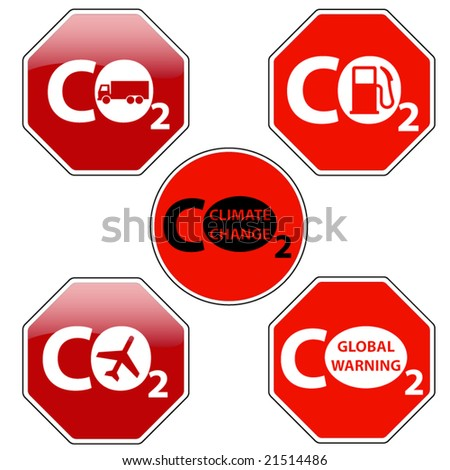 vector pack of stop signs isolated on pure white (new glossy vs old one color) - STOP CLIMATE CHANGE - stock vector