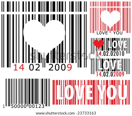 vector pack of Valentine barcode with LOVE YOU and DATE tags - stock vector