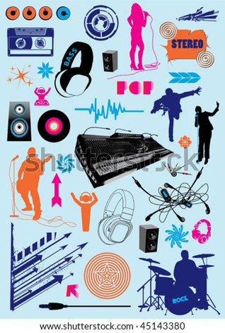 Vector pack with music design elements. - stock vector