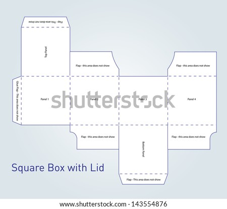 Vector packaging box template with lid - stock vector