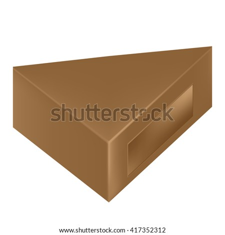 VECTOR PACKAGING: Brown triangle packaging box with window on isolated white background. Mock-up template ready for design.