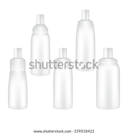 Vector Packaging: Set of white bottle container for cosmetic/perfume on isolated white background. Mock-up template ready for design . - stock vector