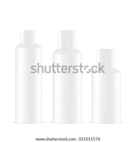 Vector Packaging: Set of white round bottle container  for cosmetic/perfume on isolated white background. Mock-up template ready for design . - stock vector
