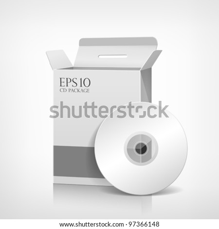 Vector packaging software white box template and CD disk, illustration