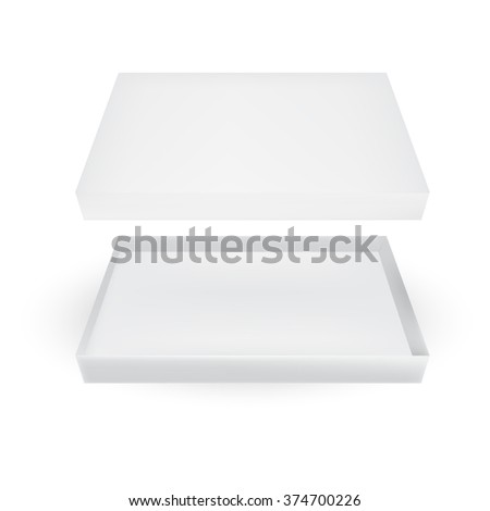 VECTOR PACKAGING: Top view of open white gray packaging box on isolated white background. Mock-up template ready for design. - stock vector
