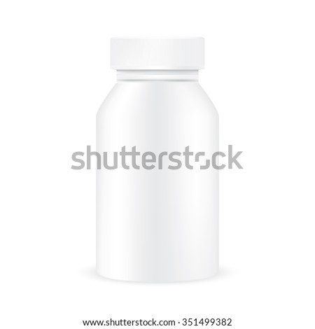 VECTOR PACKAGING: White gray closed plastic medicine bottle on isolated white background. Mock-up template ready for design .