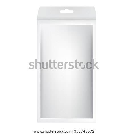 VECTOR PACKAGING: White gray long packaging box with hole to hang and front window on isolated white background. Mock-up template ready for design. - stock vector