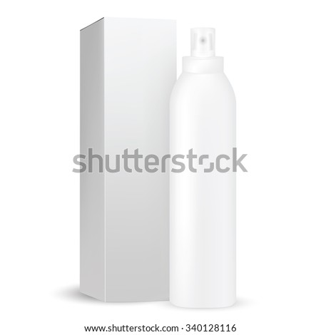 VECTOR PACKAGING: White gray tall and thin round bottle sprayer with transparent cap, box included for cosmetic/perfume on isolated white background. Mock-up template ready for design