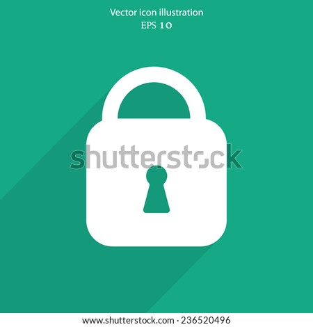 Vector padlock web flat icon. Eps 10 illustration. - stock vector