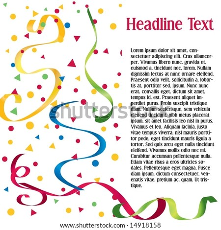 Vector page layout with confetti and streamers; space to add your own text - stock vector