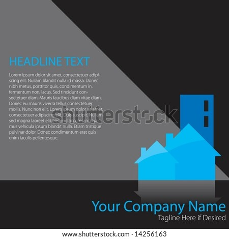 Vector page layout with houses and an office building and space to add your own copy. Real estate or home theme. - stock vector