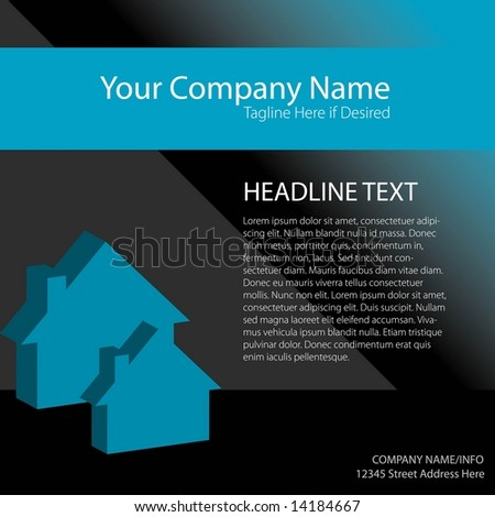 Vector page layout with space to add your own copy. House / real estate theme. - stock vector
