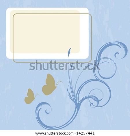 Vector page layout with swirls, butterflies and cattails. Space open for you to add your own copy.