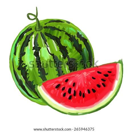 vector paint hand drawn picture watermelon stock vector 265946375 rh shutterstock com Watermelon Slice Vector Watermelon Line Art