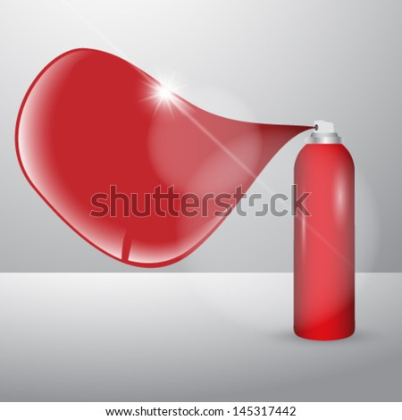 Vector paint spray can with speach bubble illustration - stock vector