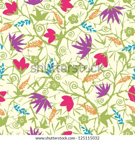 Vector painted blossoming branches seamless pattern background  with hand drawn elements - stock vector