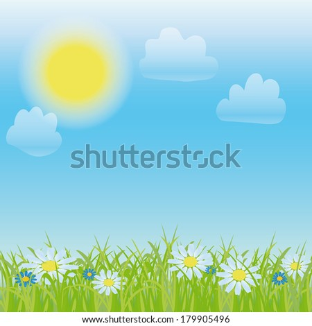 vector painted grass, flowers and sky - stock vector