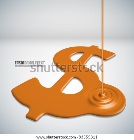 Vector Paints Dripping Money Sign - stock vector
