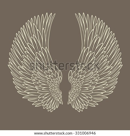 vector pair of angel wings in contour. EPS - stock vector
