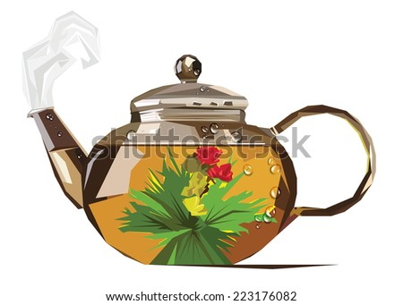 vector pairs brew tea kettle drops stylized - stock vector