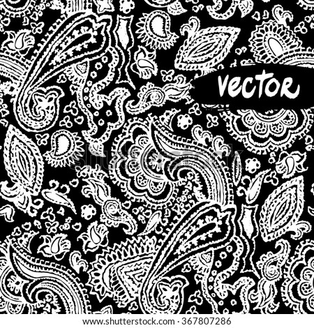 Vector paisley elements floral on a black background. Vector primitive paisley patterns seamless. Hand drawn vector floral - stock vector