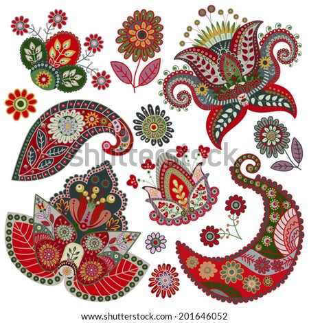 Vector Paisley floral decorative elements - stock vector