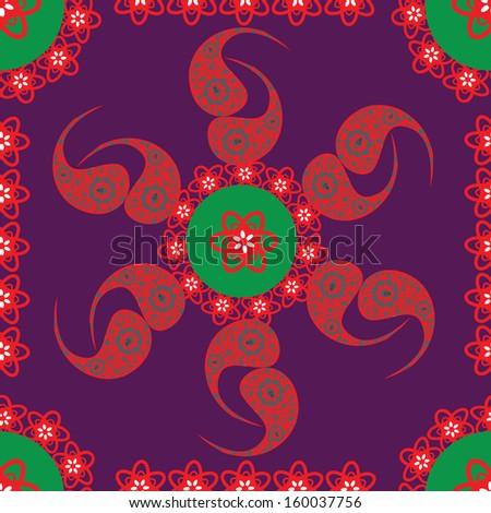 Vector Paisley seamless pattern, and seamless pattern in swatch menu. Seamless pattern can be used for wallpapers, clothes, tableware, packaging, posters  and other purposes. - stock vector