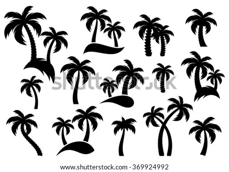 Vector palm tree silhouette icons on white background - stock vector