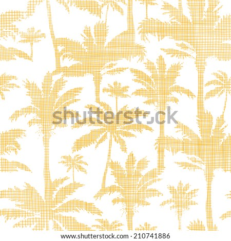 vector palm trees golden textile seamless pattern background - stock vector
